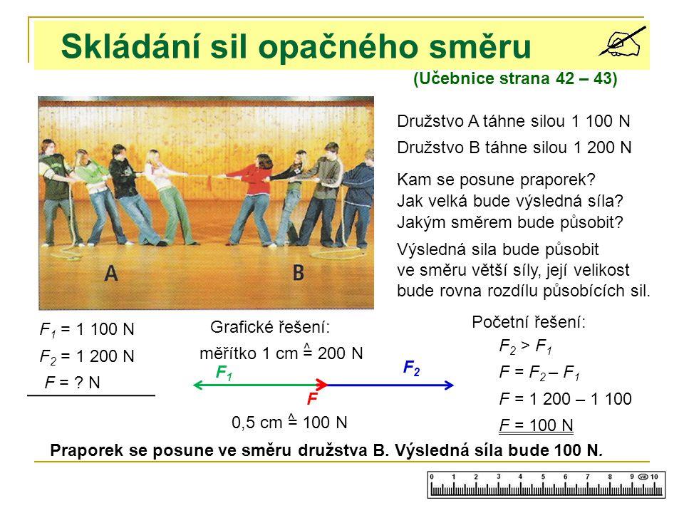 Skládání sil opačného směru (Učebnice strana 42 – 43) Družstvo A táhne silou 1 100 N Družstvo B táhne silou 1 200 N Kam se posune praporek.