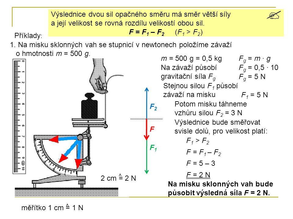 1.Na misku sklonných vah se stupnicí v newtonech položíme závaží o hmotnosti m = 500 g.