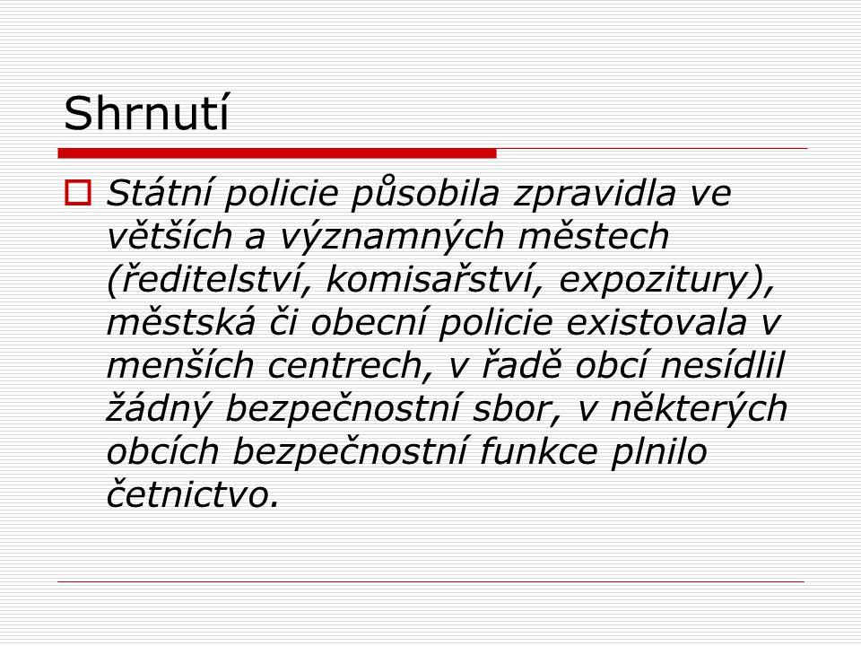 Shrnutí  Státní policie působila zpravidla ve větších a významných městech (ředitelství, komisařství, expozitury), městská či obecní policie existova