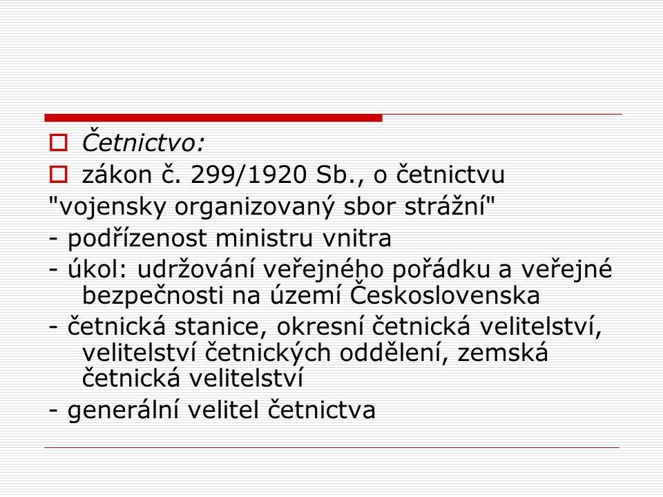  Četnictvo:  zákon č. 299/1920 Sb., o četnictvu
