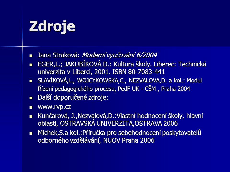Zdroje Jana Straková: Moderní vyučování 6/2004 Jana Straková: Moderní vyučování 6/2004 EGER,L.; JAKUBÍKOVÁ D.: Kultura školy.