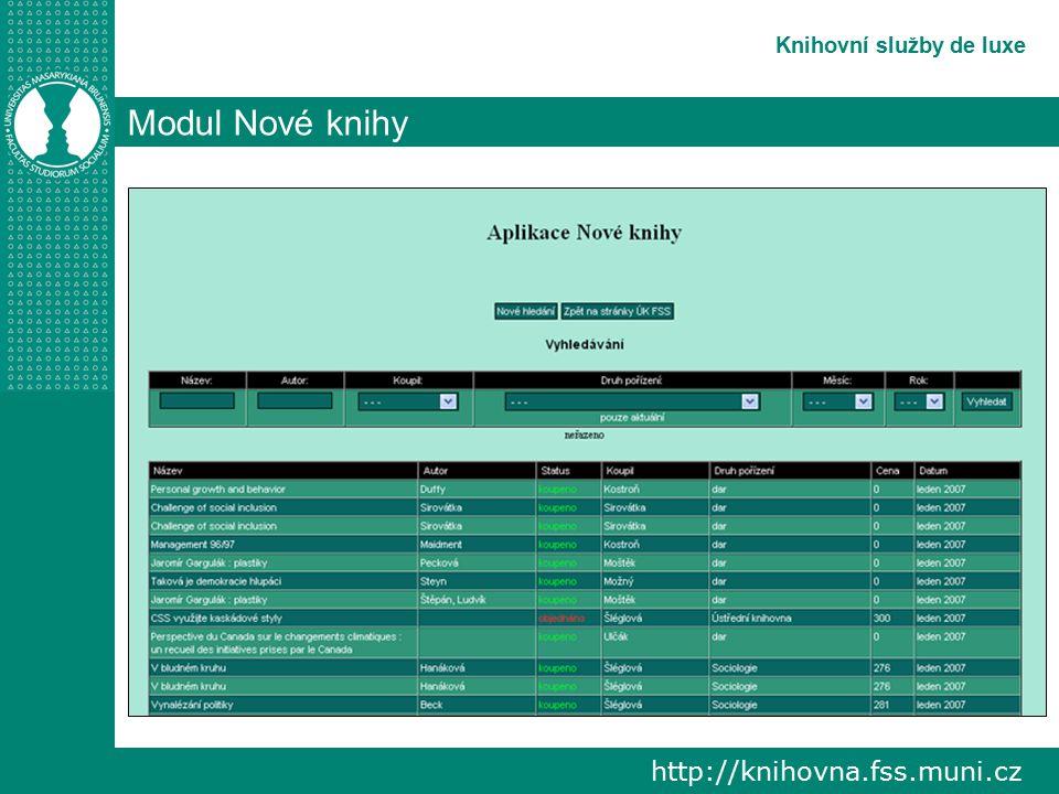 http://knihovna.fss.muni.cz Knihovní služby de luxe Modul Objednané knihy vyhledávání knih objednaných do fondu ÚK FSS, které ještě nebyly dodány hledání a řazení záznamů je stejné jako u předchozího modulu