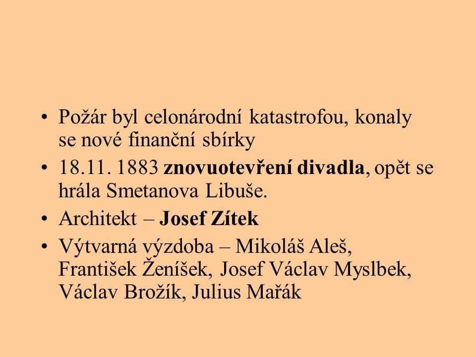 Požár byl celonárodní katastrofou, konaly se nové finanční sbírky 18.11. 1883 znovuotevření divadla, opět se hrála Smetanova Libuše. Architekt – Josef