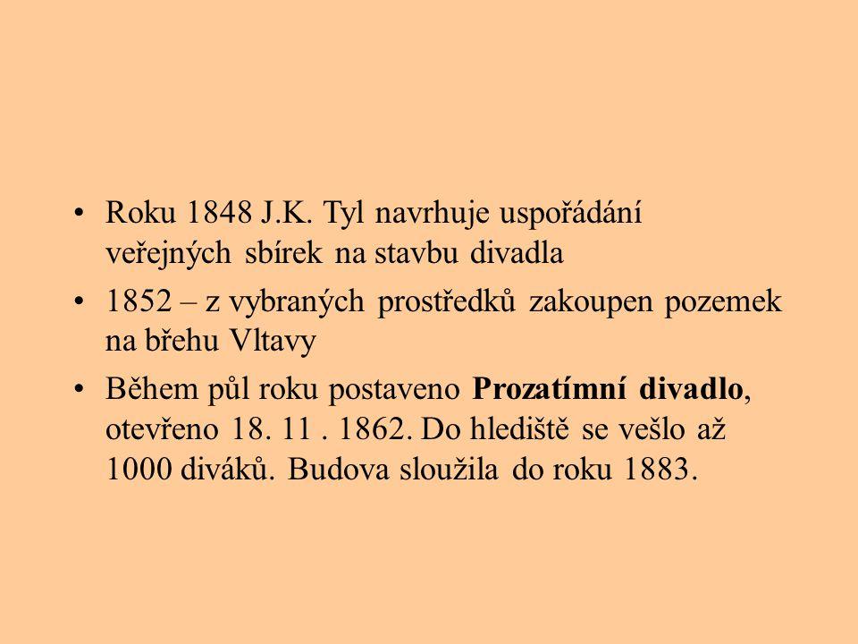 Roku 1848 J.K. Tyl navrhuje uspořádání veřejných sbírek na stavbu divadla 1852 – z vybraných prostředků zakoupen pozemek na břehu Vltavy Během půl rok