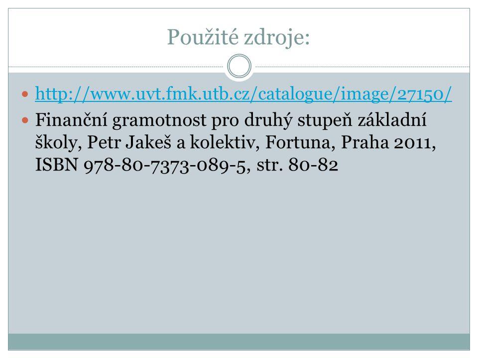 Použité zdroje: http://www.uvt.fmk.utb.cz/catalogue/image/27150/ Finanční gramotnost pro druhý stupeň základní školy, Petr Jakeš a kolektiv, Fortuna, Praha 2011, ISBN 978-80-7373-089-5, str.