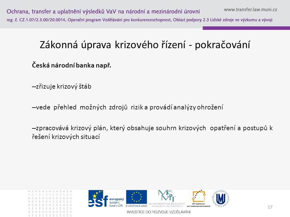 Zákonná úprava krizového řízení - pokračování Česká národní banka např. – zřizuje krizový štáb – vede přehled možných zdrojů rizik a provádí analýzy o