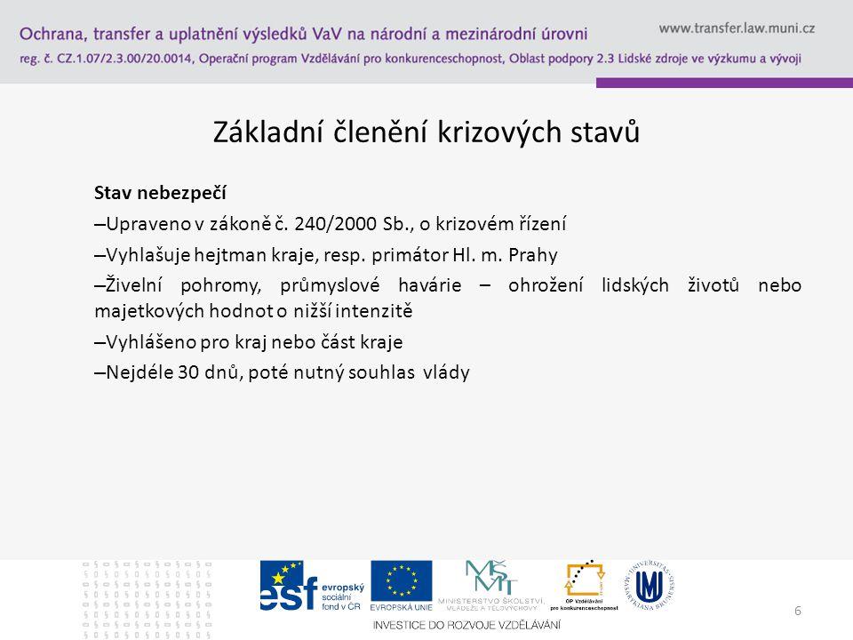 Zákonná úprava krizového řízení - pokračování Zákon č.