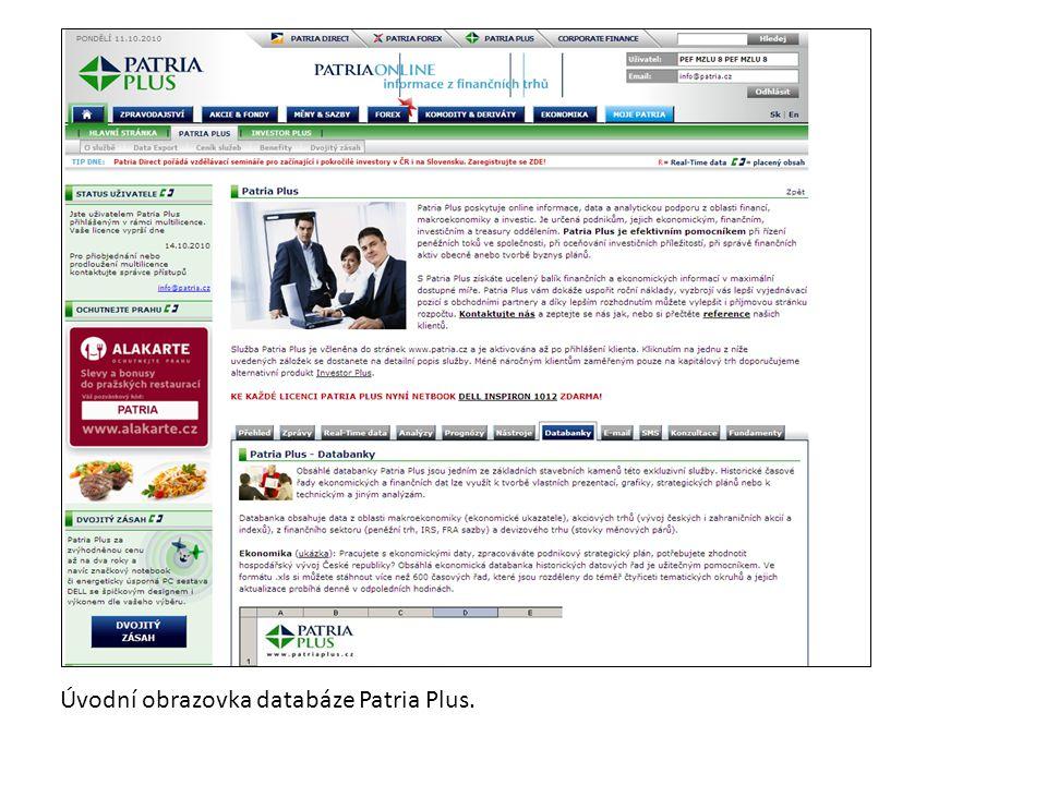 Úvodní obrazovka databáze Patria Plus.