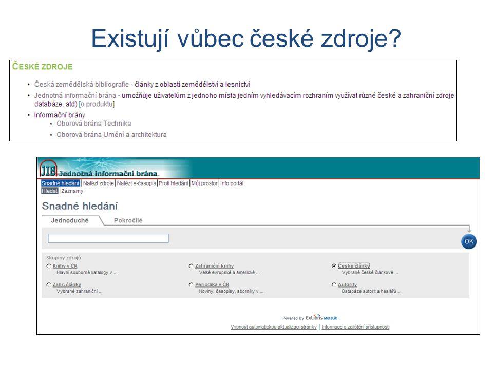 Existují vůbec české zdroje?