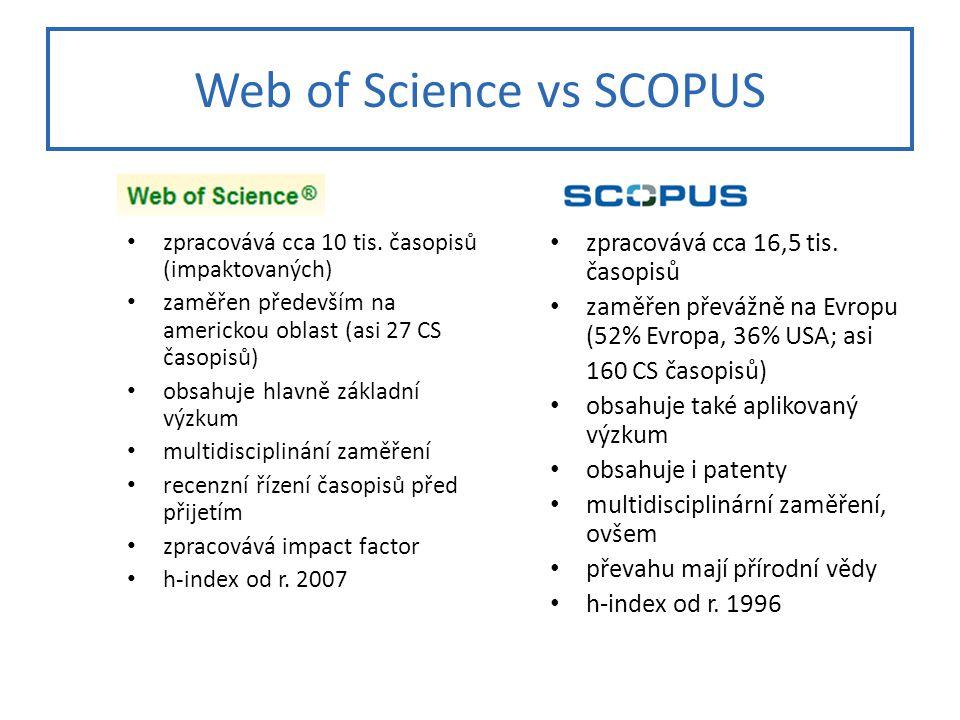Web of Science vs SCOPUS zpracovává cca 10 tis.