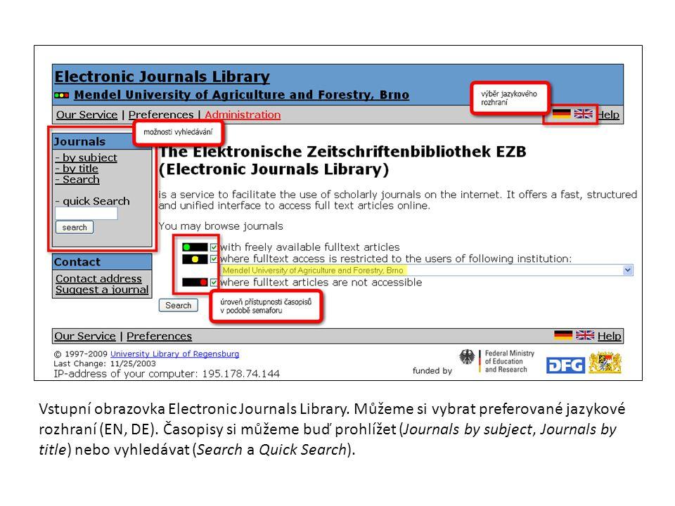 Vstupní obrazovka Electronic Journals Library.