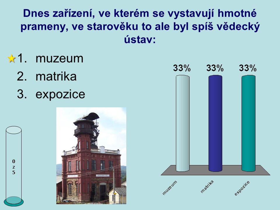 Dnes zařízení, ve kterém se vystavují hmotné prameny, ve starověku to ale byl spíš vědecký ústav: 0z50z5 1.muzeum 2.matrika 3.expozice