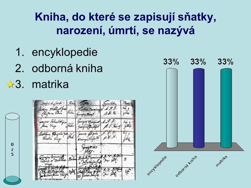 Kniha, do které se zapisují sňatky, narození, úmrtí, se nazývá 0z50z5 1.encyklopedie 2.odborná kniha 3.matrika