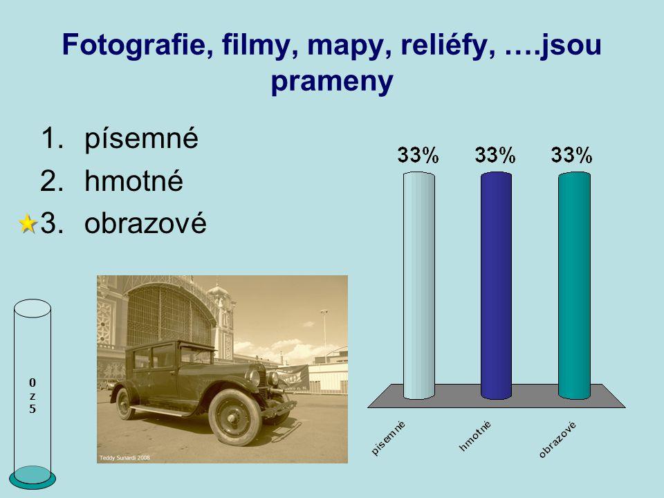 Fotografie, filmy, mapy, reliéfy, ….jsou prameny 0z50z5 1.písemné 2.hmotné 3.obrazové