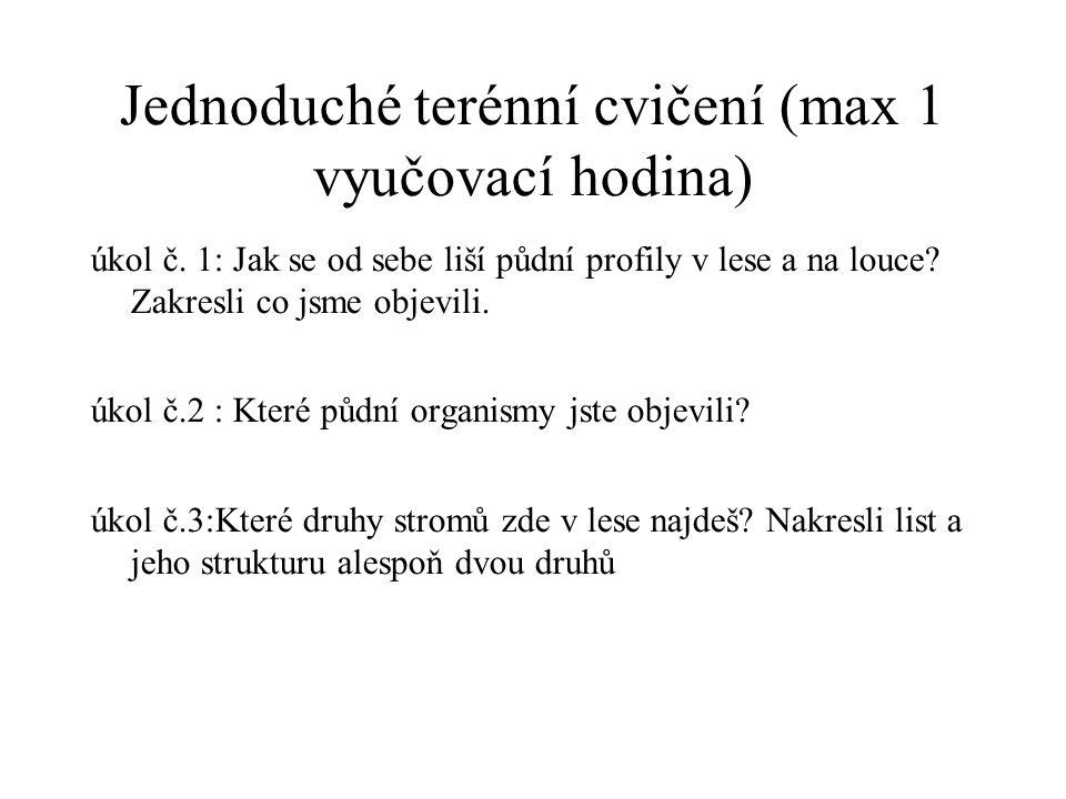 Jednoduché terénní cvičení (max 1 vyučovací hodina) úkol č. 1: Jak se od sebe liší půdní profily v lese a na louce? Zakresli co jsme objevili. úkol č.