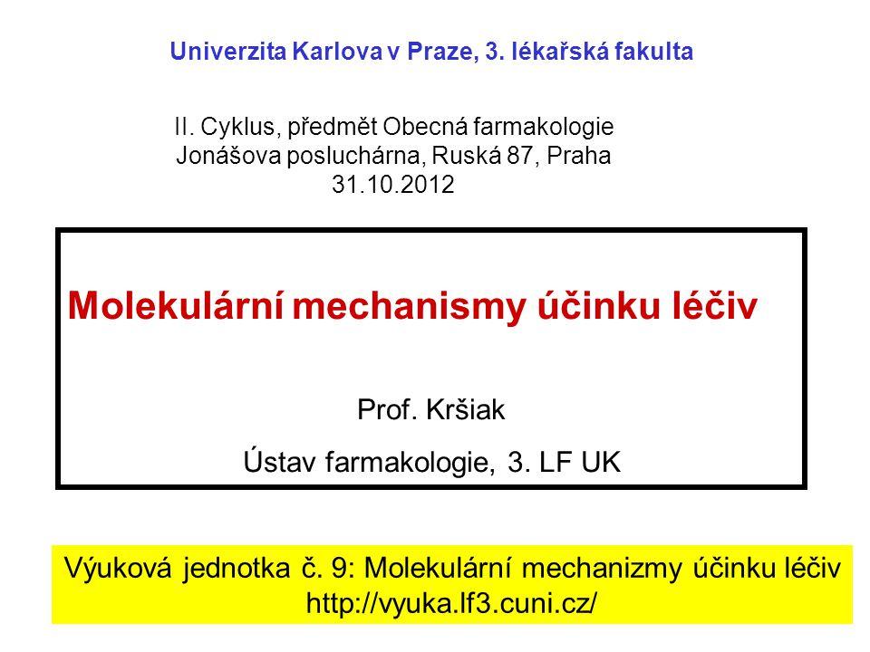 Molekulární mechanismy účinku léčiv Prof.Kršiak Ústav farmakologie, 3.