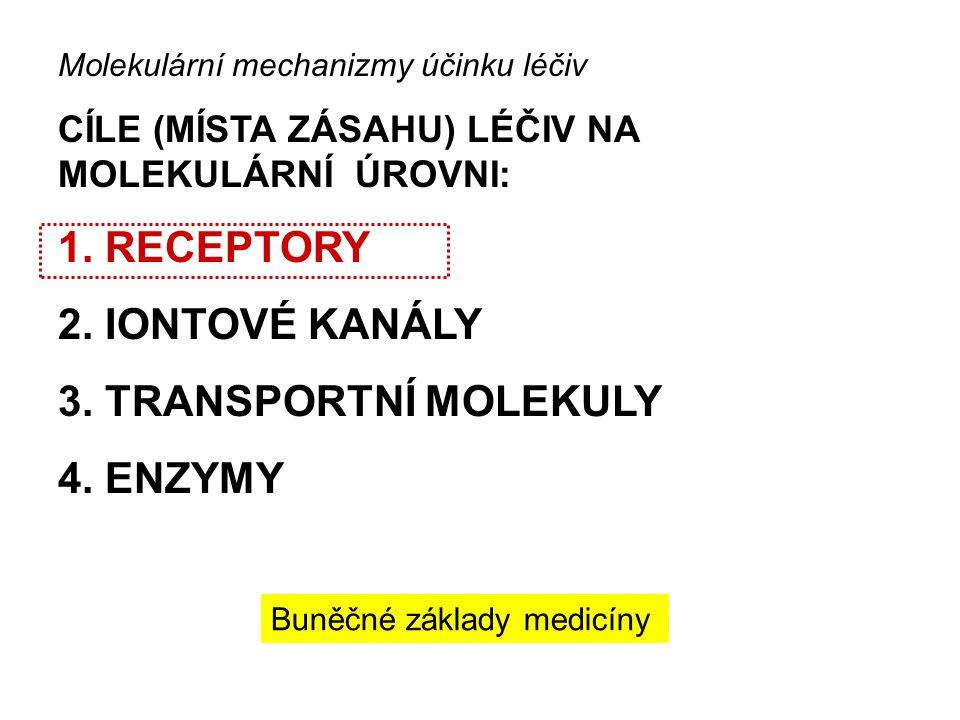 Molekulární mechanizmy účinku léčiv CÍLE (MÍSTA ZÁSAHU) LÉČIV NA MOLEKULÁRNÍ ÚROVNI: 1.