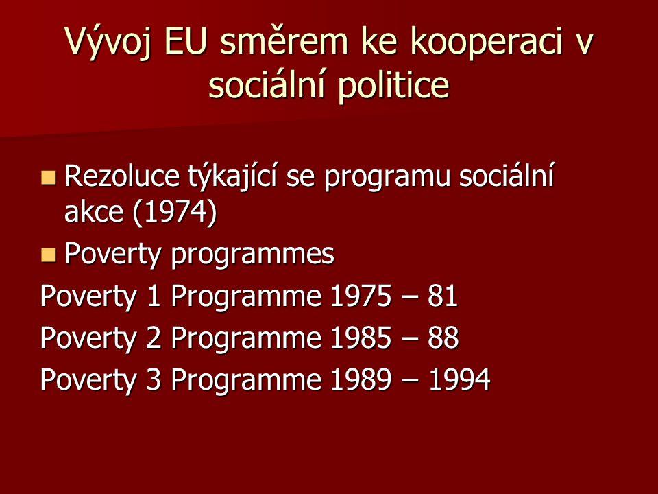 """Klíčové dokumenty Rezoluce Rady o boji proti sociální exkluzi (1989) Rezoluce Rady o boji proti sociální exkluzi (1989) Doporučení Rady o """"Společných kritériích týkajících se dostatečných zdrojů a sociální pomoci v systémech sociální ochrany (1992) Doporučení Rady o """"Společných kritériích týkajících se dostatečných zdrojů a sociální pomoci v systémech sociální ochrany (1992) Doporučení Rady o """"Konvergenci cílů a politik sociální ochrany (1992) Doporučení Rady o """"Konvergenci cílů a politik sociální ochrany (1992) """"Modernizace a zlepšení sociální ochrany v Evropské unii (1997) """"Modernizace a zlepšení sociální ochrany v Evropské unii (1997) Amsterdamská smlouva (1999) Amsterdamská smlouva (1999) """"Vzájemně dohodnutá strategie modernizace sociální ochrany (1999) """"Vzájemně dohodnutá strategie modernizace sociální ochrany (1999)"""