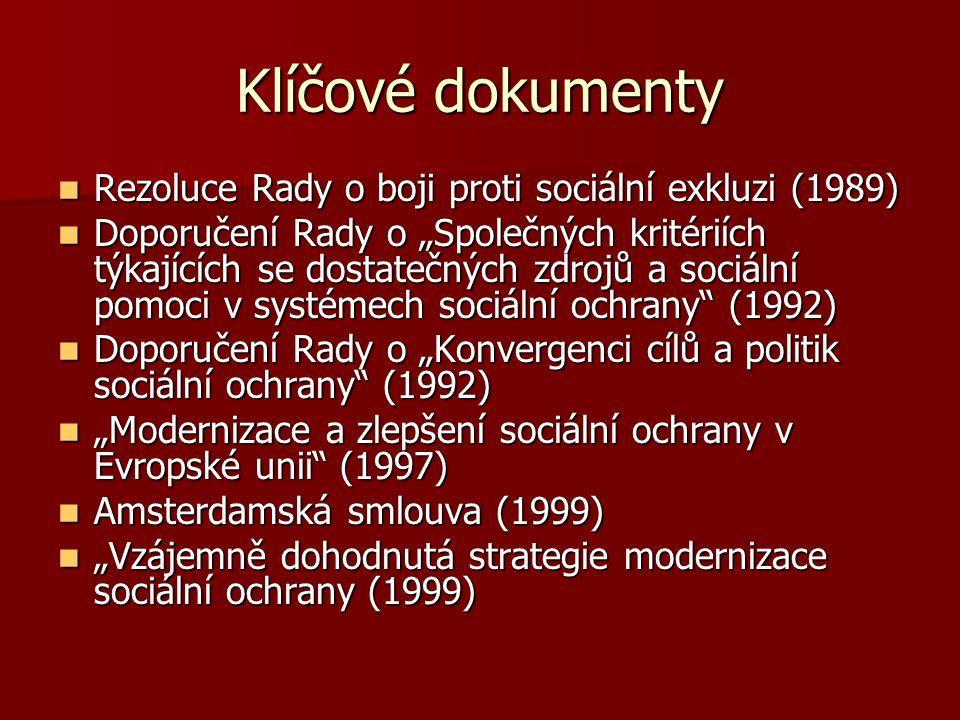 """Klíčové dokumenty Rezoluce Rady o boji proti sociální exkluzi (1989) Rezoluce Rady o boji proti sociální exkluzi (1989) Doporučení Rady o """"Společných"""