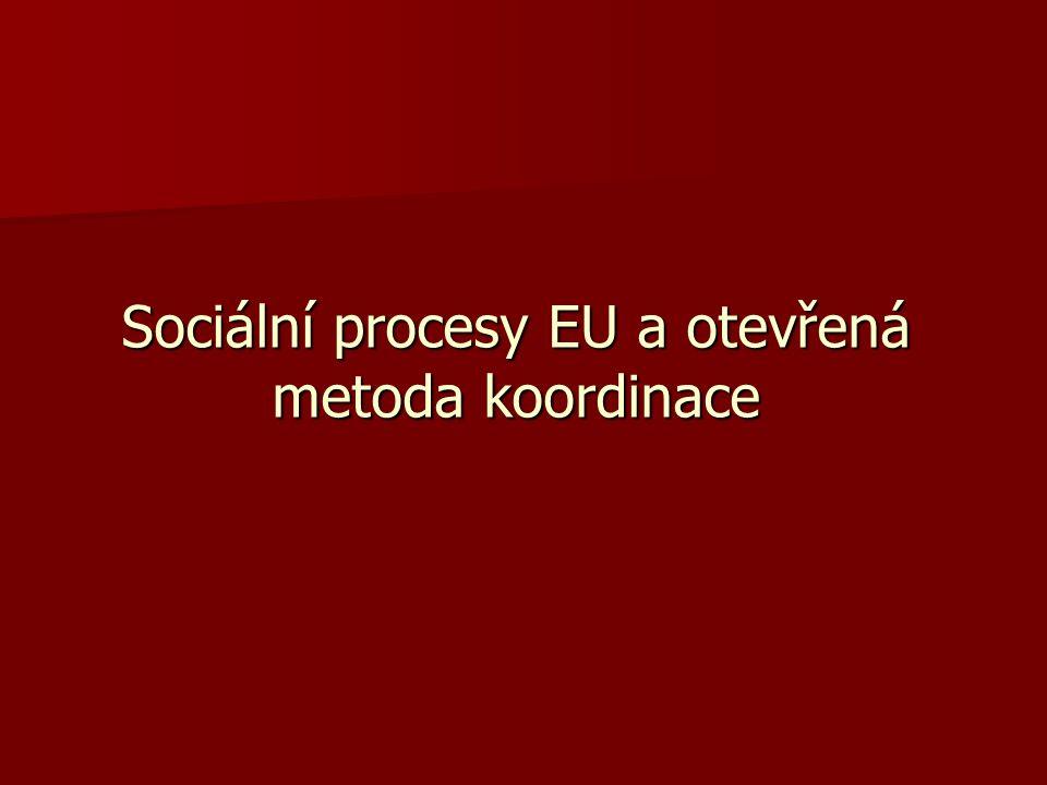 Otevřená metoda koordinace Principy: Subsidiarita Subsidiarita Konvergence Konvergence Management by objectives Management by objectives Dohled a vzájemné učení Dohled a vzájemné učení Integrovaný přístup Integrovaný přístup