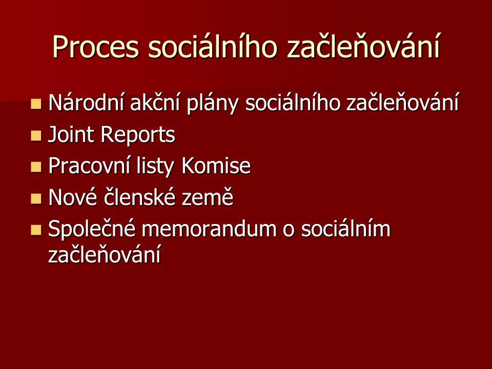 Proces sociálního začleňování Národní akční plány sociálního začleňování Národní akční plány sociálního začleňování Joint Reports Joint Reports Pracov
