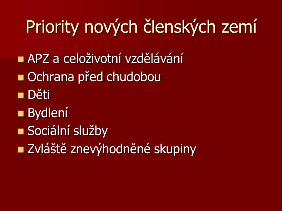 Cíle strategie sociálního začleňování Nice (2001) Nice (2001) Usnadnit participaci Prevence sociálního vyloučení Pomoc nejzranitelnějším Mobilizace všech relevantních institucí a aktérů Modifikace 2002 – důraz na stanovení cílů Modifikace 2002 – důraz na stanovení cílů Typy cílů v NAPSI Typy cílů v NAPSI