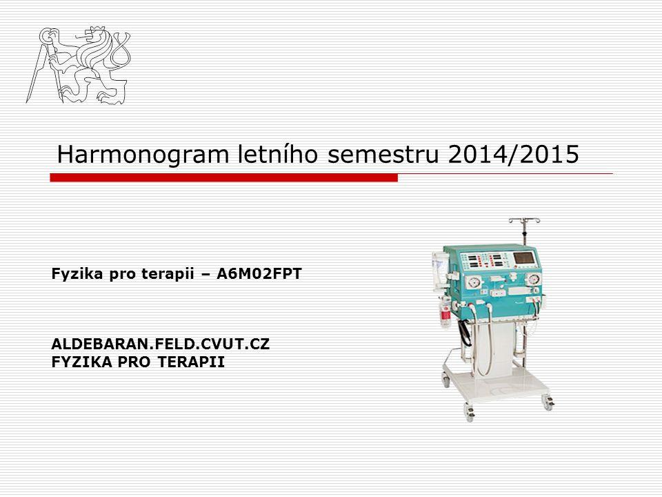 Harmonogram cvičení 1.Elektroterapie 2.Plasma v lékařství 3.Léčebný ultrazvuk 4.Fototerapie – měření spektrálních charakteristik zdrojů světla 5.Magnetoterapie 6.Test
