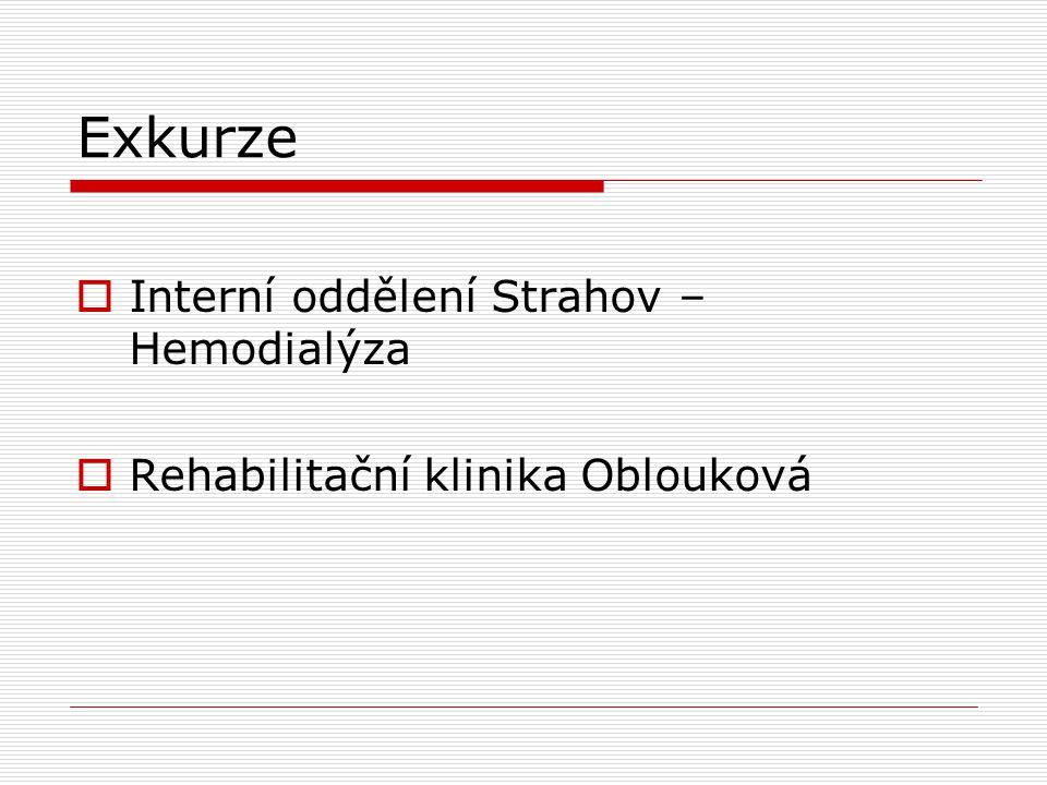 Exkurze  Interní oddělení Strahov – Hemodialýza  Rehabilitační klinika Oblouková