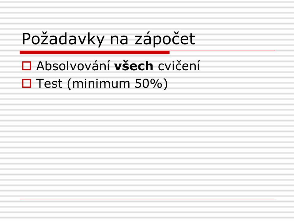 Požadavky na zápočet  Absolvování všech cvičení  Test (minimum 50%)