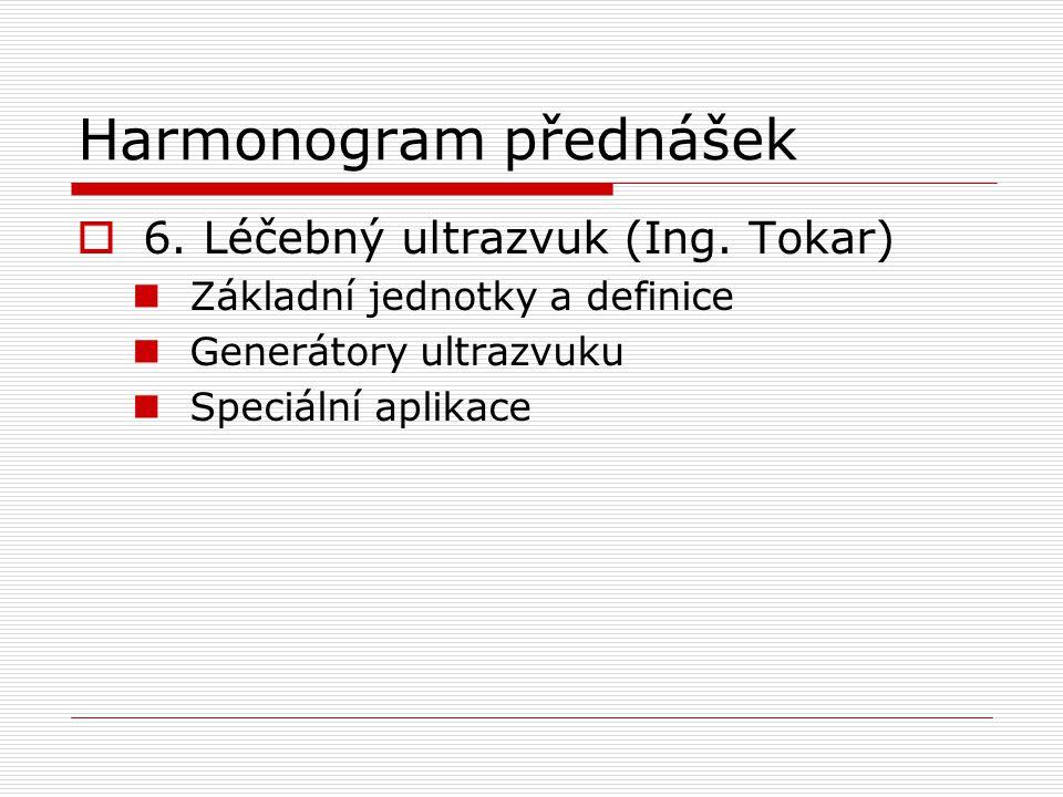 Harmonogram přednášek  6. Léčebný ultrazvuk (Ing. Tokar) Základní jednotky a definice Generátory ultrazvuku Speciální aplikace