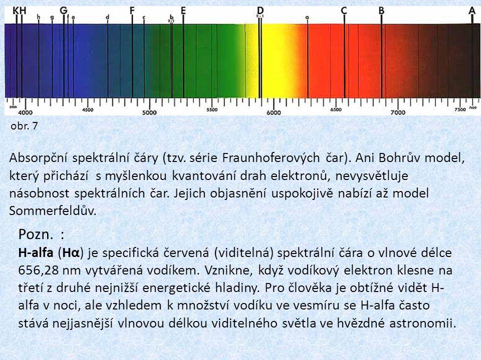 Absorpční spektrální čáry (tzv.série Fraunhoferových čar).