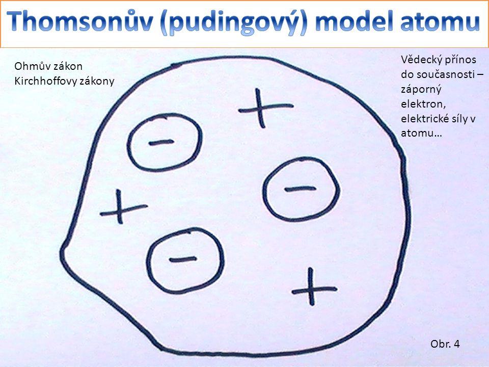 Vědecký přínos do současnosti – záporný elektron, elektrické síly v atomu… Ohmův zákon Kirchhoffovy zákony Obr.