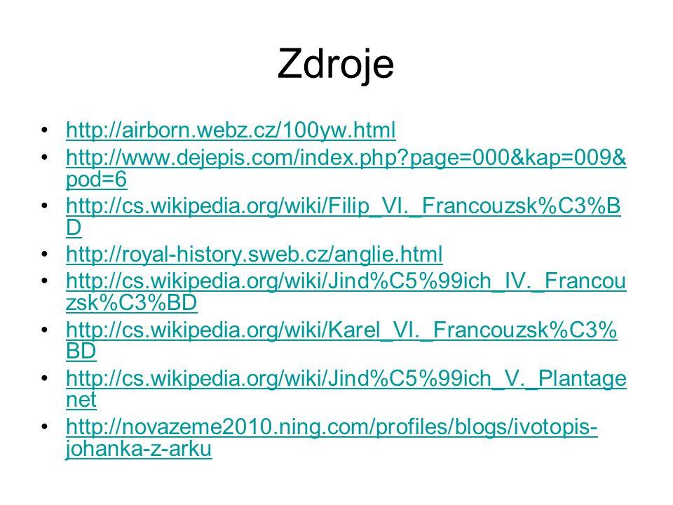 Zdroje http://airborn.webz.cz/100yw.html http://www.dejepis.com/index.php?page=000&kap=009& pod=6http://www.dejepis.com/index.php?page=000&kap=009& po