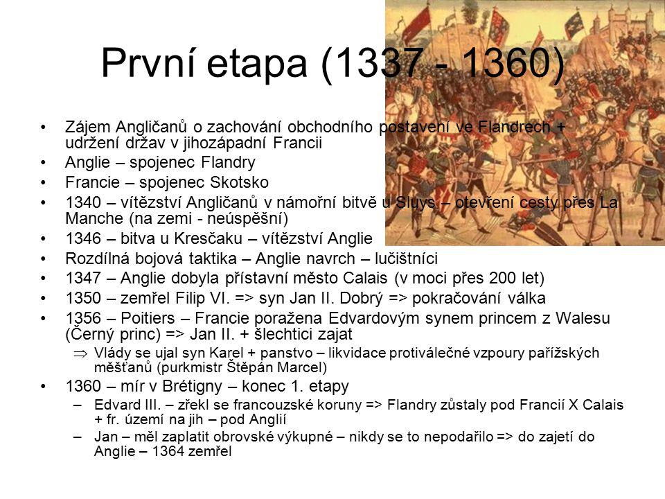 První etapa (1337 - 1360) Zájem Angličanů o zachování obchodního postavení ve Flandrech + udržení držav v jihozápadní Francii Anglie – spojenec Flandr