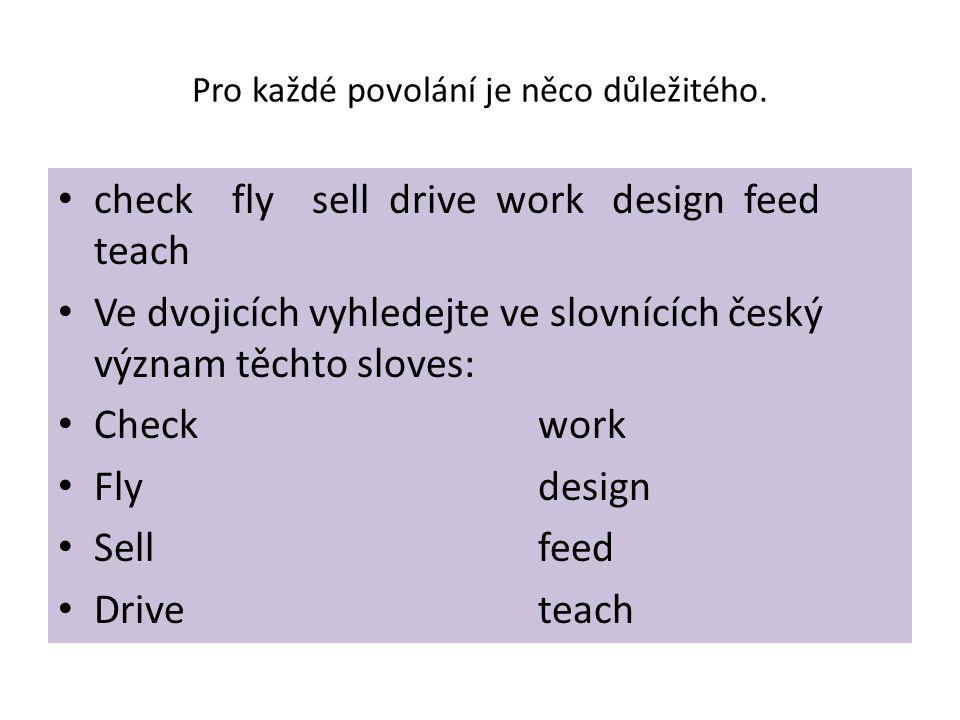 Pro každé povolání je něco důležitého. check fly sell drive work design feed teach Ve dvojicích vyhledejte ve slovnících český význam těchto sloves: C