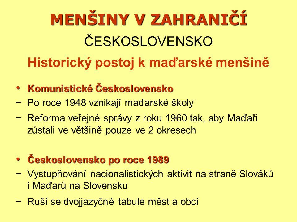 MENŠINY V ZAHRANIČÍ ČESKOSLOVENSKO Historický postoj k maďarské menšině Komunistické Československo Komunistické Československo −Po roce 1948 vznikají maďarské školy −Reforma veřejné správy z roku 1960 tak, aby Maďaři zůstali ve většině pouze ve 2 okresech Československo po roce 1989 Československo po roce 1989 −Vystupňování nacionalistických aktivit na straně Slováků i Maďarů na Slovensku −Ruší se dvojjazyčné tabule měst a obcí