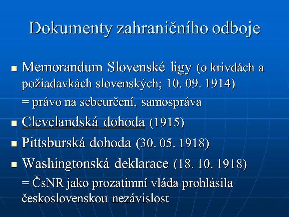 Dokumenty zahraničního odboje Memorandum Slovenské ligy (o krivdách a požiadavkách slovenských; 10. 09. 1914) Memorandum Slovenské ligy (o krivdách a