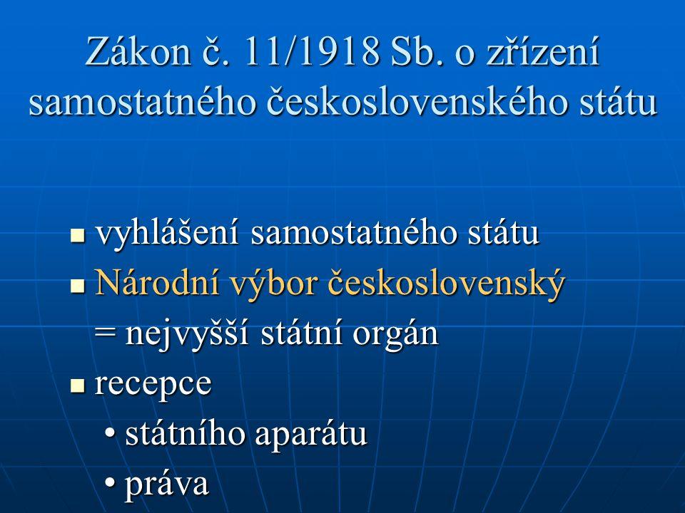 Zákon č. 11/1918 Sb. o zřízení samostatného československého státu vyhlášení samostatného státu vyhlášení samostatného státu Národní výbor českosloven
