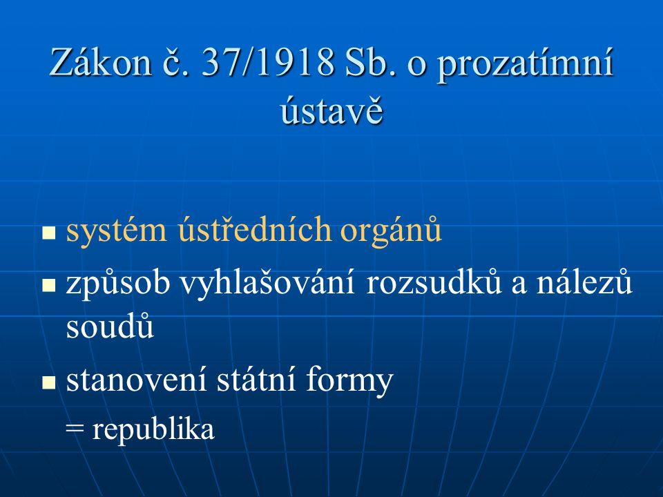 Zákon č. 37/1918 Sb. o prozatímní ústavě systém ústředních orgánů způsob vyhlašování rozsudků a nálezů soudů stanovení státní formy = republika