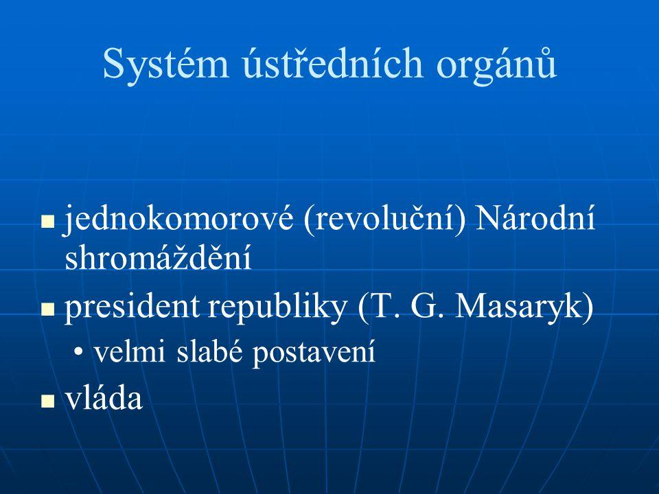 Systém ústředních orgánů jednokomorové (revoluční) Národní shromáždění president republiky (T. G. Masaryk) velmi slabé postavení vláda
