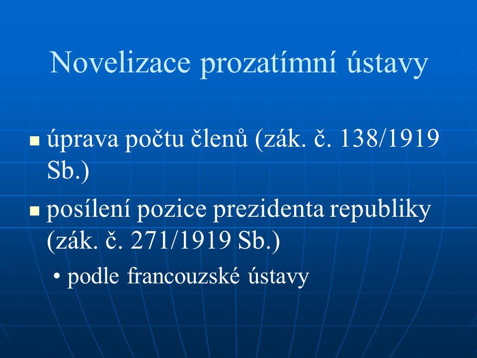 Novelizace prozatímní ústavy úprava počtu členů (zák. č. 138/1919 Sb.) posílení pozice prezidenta republiky (zák. č. 271/1919 Sb.) podle francouzské ú
