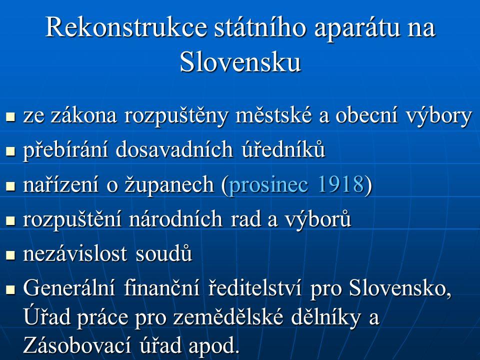 Rekonstrukce státního aparátu na Slovensku ze zákona rozpuštěny městské a obecní výbory ze zákona rozpuštěny městské a obecní výbory přebírání dosavad