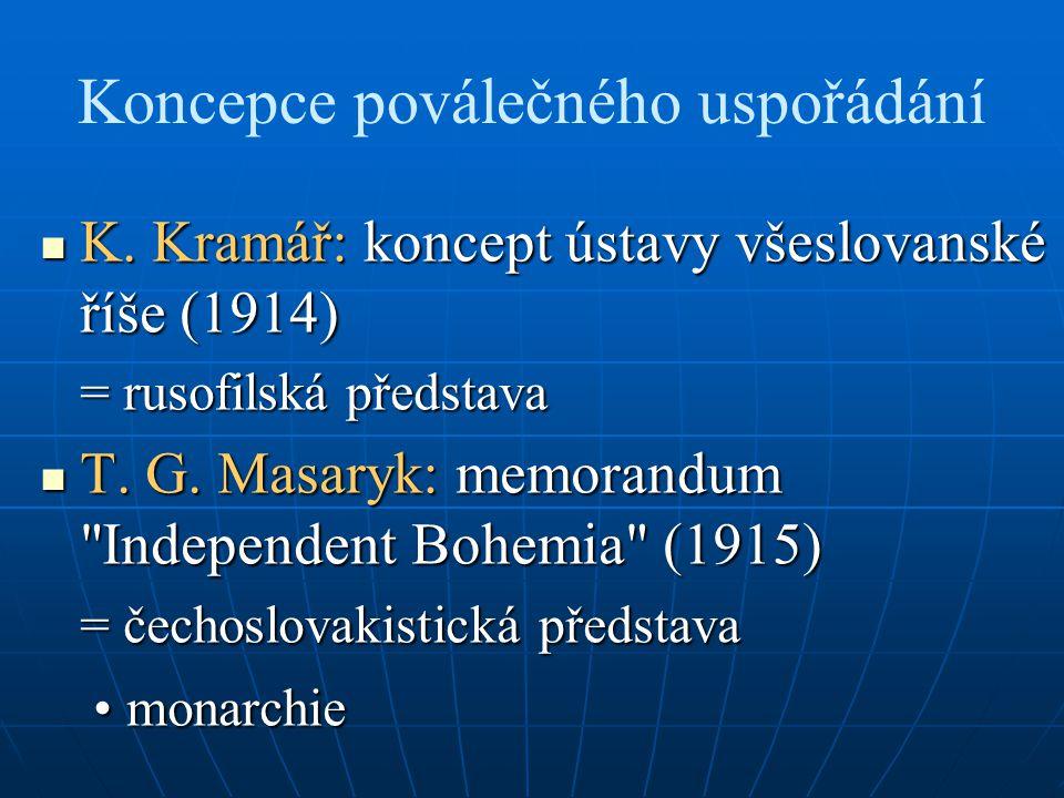 Koncepce poválečného uspořádání K. Kramář: koncept ústavy všeslovanské říše (1914) K. Kramář: koncept ústavy všeslovanské říše (1914) = rusofilská pře