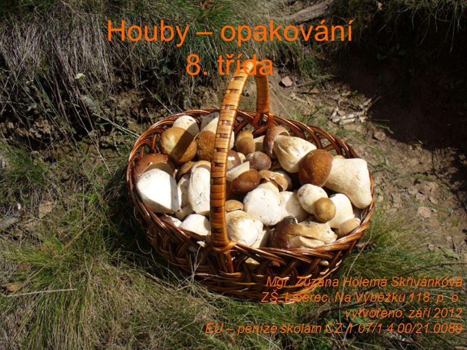 Houby – opakování 8.třída Mgr. Zuzana Holemá Skřivánková ZŠ, Liberec, Na Výběžku 118, p.