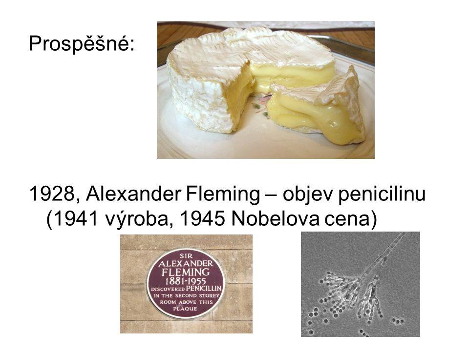 Prospěšné: 1928, Alexander Fleming – objev penicilinu (1941 výroba, 1945 Nobelova cena)