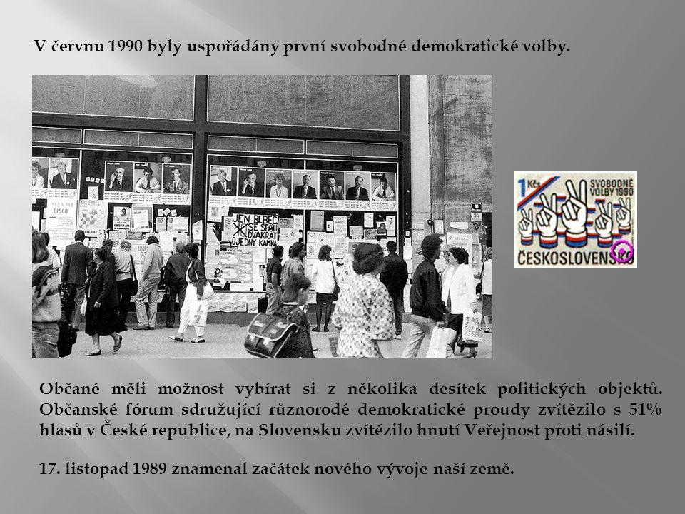 V červnu 1990 byly uspořádány první svobodné demokratické volby. Občané měli možnost vybírat si z několika desítek politických objektů. Občanské fórum