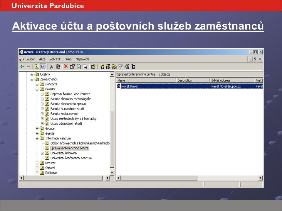 Aktivace účtu a poštovních služeb zaměstnanců