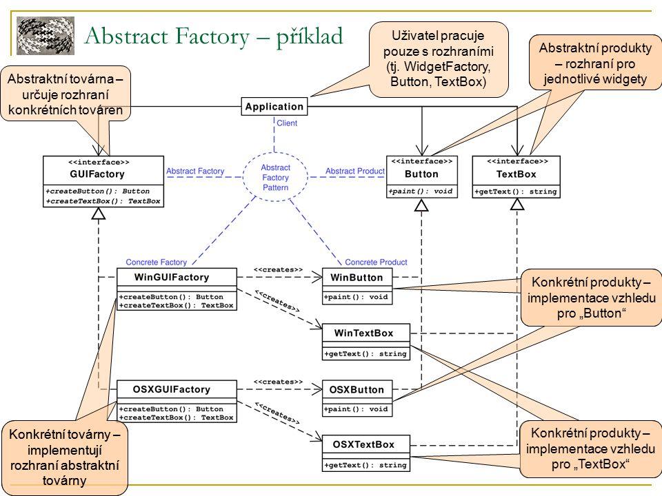 """Abstract Factory – shrnutí účastníků Abstraktní produkty ( Button, TextBox )  rozhraní objektů vytvářených v továrně Abstraktní továrna ( GUIFactory )  rozhraní pro vytváření objektů  vrací """"abstraktní objekty Aplikace/uživatel ( Application )  Pracuje pouze s abstraktními objekty, konkrétní jsou mu skryty Konkrétní produkty ( WinButton, WinTextBox, OSXButton, OSXTextBox )  skutečné objekty  implementují rozhraní jednotlivých abstraktních produktů Konkrétní továrny ( OSXGUIFactory, WinGUIFactory )  implementují rozhraní abstraktní továrny  vytváří skutečné (konkrétní) objekty"""