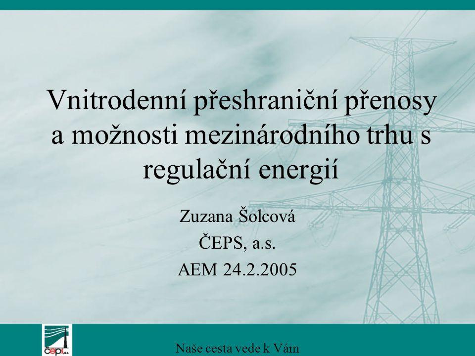 Vnitrodenní přeshraniční přenosy a možnosti mezinárodního trhu s regulační energií Zuzana Šolcová ČEPS, a.s. AEM 24.2.2005 Naše cesta vede k Vám