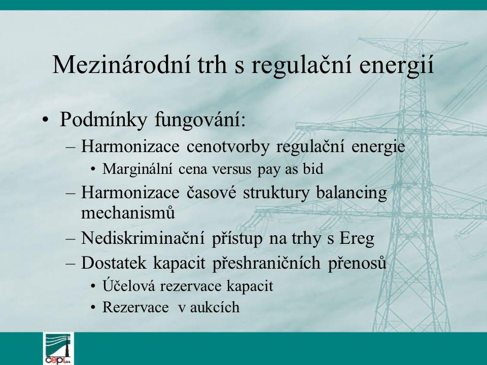 Mezinárodní trh s regulační energií Podmínky fungování: –Harmonizace cenotvorby regulační energie Marginální cena versus pay as bid –Harmonizace časové struktury balancing mechanismů –Nediskriminační přístup na trhy s Ereg –Dostatek kapacit přeshraničních přenosů Účelová rezervace kapacit Rezervace v aukcích